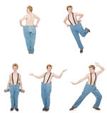 The funny man with trousers isolated on white Stock Images