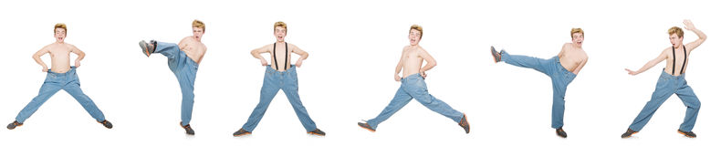 Funny man with trousers isolated on white Stock Photos