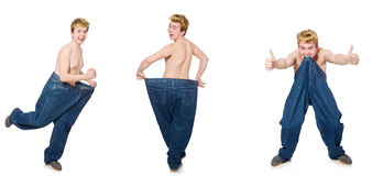 The funny man with trousers isolated on white Stock Photography
