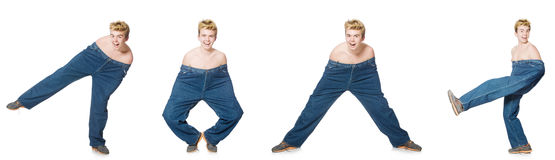 The funny man with trousers isolated on white Royalty Free Stock Image