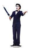 Funny man with umbrella Stock Photo