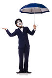 Funny man with umbrella. On white Royalty Free Stock Image