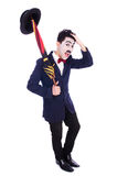 Funny man with umbrella Royalty Free Stock Image