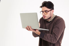 Free Funny Man Using Laptop Compter Stock Image - 63908451