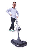 Funny man with vacuum cleaner Royalty Free Stock Photos