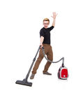 Funny man with vacuum cleaner Royalty Free Stock Images