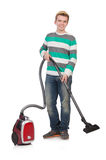 Funny man with vacuum cleaner Royalty Free Stock Photography