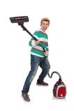 Funny man with vacuum cleaner Royalty Free Stock Photo