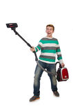 Funny man with vacuum cleaner Stock Photo