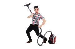 Funny man with vacuum cleaner Stock Photography