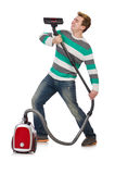 Funny man with vacuum cleaner Stock Photos
