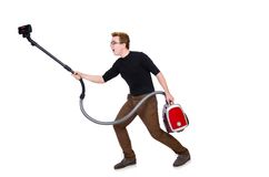 Funny man with vacuum cleaner on the white Stock Image