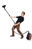 Funny man with vacuum cleaner on the white Royalty Free Stock Photography