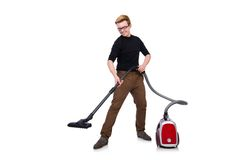 Funny man with vacuum cleaner on the white Royalty Free Stock Images