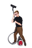 Funny man with vacuum cleaner on white Royalty Free Stock Photos