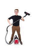 Funny man with vacuum cleaner on white Royalty Free Stock Photography