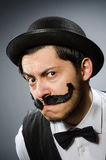 The funny man in vintage concept Stock Photography