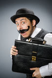The funny man in vintage concept Stock Images