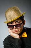 The funny man with vintage hat Royalty Free Stock Photos