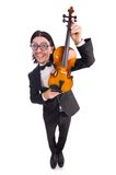 Funny man with violin isolated on white Stock Images