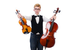 Funny man with violin Royalty Free Stock Photo