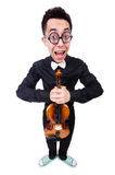 Funny man with violin. On white Stock Photography