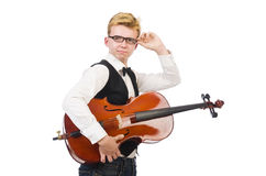 Funny man with violin Royalty Free Stock Images