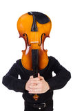 Funny man with violin. On white Stock Photo