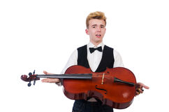 Funny man with violin Royalty Free Stock Photos