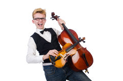 Funny man with violin Stock Images