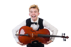 Funny man with violin Stock Photo