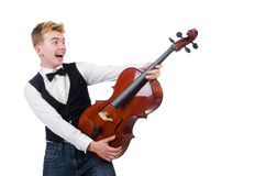 Funny man with violin. On white Royalty Free Stock Images
