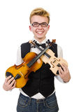 Funny man with violin. On white Stock Image