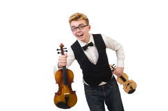 Funny man with violin. On white Stock Images