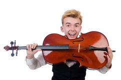 Funny man with violin. On white Royalty Free Stock Photos