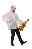 Funny man with violin. On white Royalty Free Stock Photography