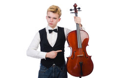 Funny man with violin. On white Royalty Free Stock Photo