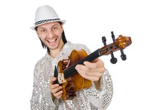 Funny man with violin. On white Royalty Free Stock Image