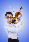 Funny man with violin on white. The funny man with violin on white Stock Photo