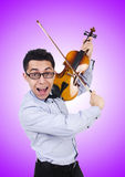 Funny man with violin on white Stock Image