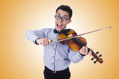 Funny man with violin on white Stock Photography