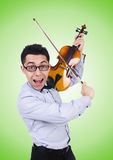 Funny man with violin on white Stock Photos
