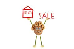 Funny man of the walnut lifting word - sale Stock Photos