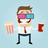 Funny man is watching 3d movie Royalty Free Stock Photos