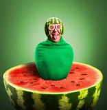 Funny man with watermelon helmet and googles. Looks like a parasitic caterpillar Royalty Free Stock Images