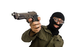 The funny man wearing balaclava isolated on white. Funny man wearing balaclava isolated on white Stock Photography