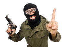 The funny man wearing balaclava isolated on white. Funny man wearing balaclava isolated on white Stock Image