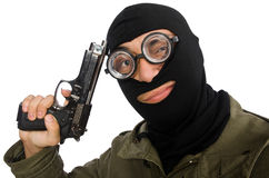 The funny man wearing balaclava isolated on white. Funny man wearing balaclava isolated on white Royalty Free Stock Images
