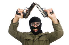 The funny man wearing balaclava isolated on white Royalty Free Stock Photos