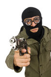 The funny man wearing balaclava isolated on white Stock Photo